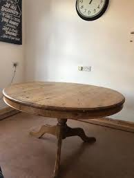 antique pine round dining table