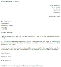 resignation letter example with no notice   toresign comresignation letter   no notice