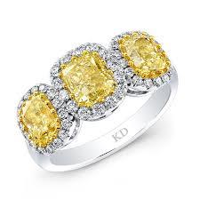 Yellow Diamond Vs White Diamond White Yellow Gold Contemporary Cushion Fancy Yellow