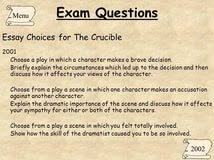 essay questions the crucible samples of essay topics need help  essay questions the crucible