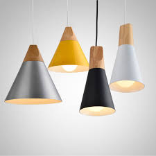 nordic pendant lights for home lighting modern hanging lamp wooden aluminum lampshade led bulb bedroom kitchen modern hanging lights h90