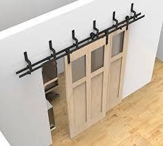 6ft 6 6ft 8ft byp sliding barn wood door track kit rustic black barn