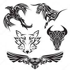 Sada Tetování Zvířat Býk Vlk Sova Orel Stock Vektor Stas11