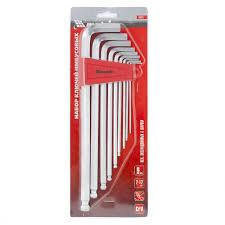 <b>Набор ключей имбусовых</b> HEX, 2-12 мм, CrV, 9 шт, экстра ...