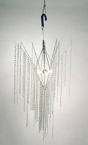 chandelier from old umbrella and crystal