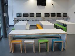 Our bright, motivational classroom furniture for Great Sankey School!  Colours like these work brilliantly