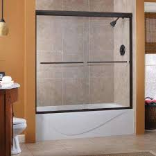 cove 60 in x 60 in semi framed sliding tub door in oil oil rubbed bronze silver