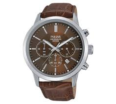 buy pulsar men s brown strap chronograph watch at argos co uk play video