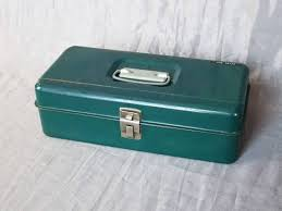 small dark blue green metal tool tackle cash box 13 5 x 6 5 x 4 25 office desk craft home storage organization made in usa vintage