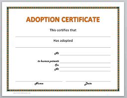 Pet Adoption Certificate Template Adoption Certificate Template