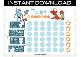 Dinosaur Potty Training Reward Chart Printable Toilet Potty Training Chart Digital Download