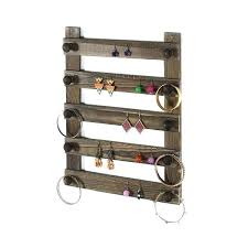 wall mounted earring holder rustic espresso wood pair jewelry hanger rack jewellery storage