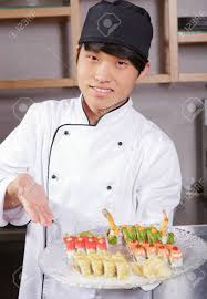 Sushi Cook Proud Cook Confident Young Asian Sushi Cook Points With Hand