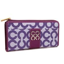 Coach Madison Accordion Zip In Signature Large Purple Wallets AGR