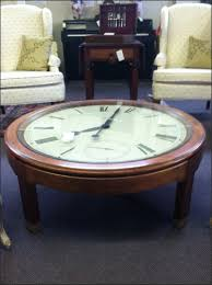 marvellous brown round ancient wood clock coffee table idea to complete living room furniture sets