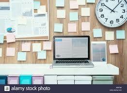 office pinboard. Laptop And Folders On A Shelf In The Office, Pinboard Background, Business Workspace Technology Office D