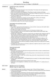 Telecom Manager Resume Samples Velvet Jobs