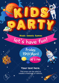 Space Party Invitation Cosmic Party Invitation Kids Party Concept Colorful Space Invitation
