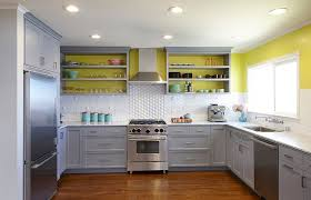 gray and sunny yellow in the modern kitchen design nerland building
