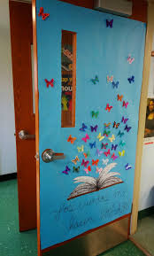 spring classroom door decorations. Butterflies On Spring Time Classroom Door - Art Gone Loco Each Student Decorates 2 Identical Butterflies, One To Glue Onto The Paper, Other Fold Decorations C