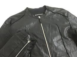 beautiful article black tag emporio armani armani leather single riders jacket black 46 size
