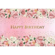Us 12 15 19 Off 7x5 Pink Flowers Photography Backdrops Happy Birthday Background For Photography Kids 1st Baby Birthday Banners For Princess In