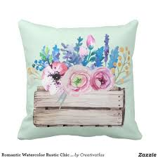 romantic decor home office. Romantic Watercolor Rustic Chic Floral Bouquet Throw Pillow | Office Art Decor Home Online