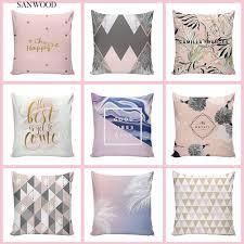 <b>Nordic Geometric Grid</b> Leaves Pillow Case Sofa Cafe Zipper ...