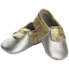 details about itzy ritzy moc happens baby leather shoe moccasins precious metals 0 6 months