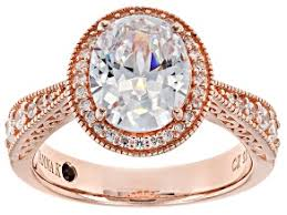 white cubic zirconia 18k rose gold over sterling silver ring 4 43ctw