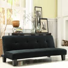 Bento Black Microfiber Suede Modern Mini Futon Sofa Bed Mattress Furniture  Couch