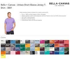 Bella T Shirts Color Chart Bella Canvas 3001 Unisex T Shirt Review The Best Unisex