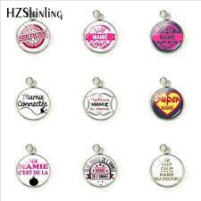 2019 New Fashion Elue Mamie del'annee Stainless Steel Pendants Handcraft  Super Mamie Glass Cabochon Gifts for MAMA|Pendant Necklaces| - AliExpress