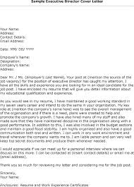 Executive Position Cover Letter Resume Sample Source