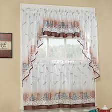 full size of interior decor retro kitchen curtains white and borwn printed curtain polyester