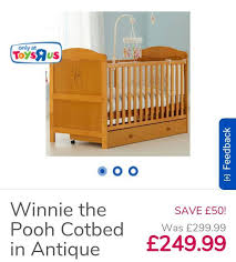 antique pine winnie the pooh cot bed with drawer