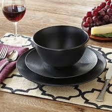 black dinnerware sets. Fine Black Better Homes And Gardens Matte Swirl 12 Piece Dinnerware Set Black For Sets V