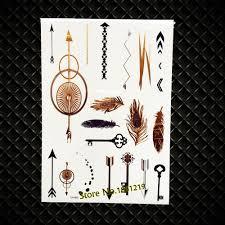 5177 руб 8 скидкановая золотая временная татуировка молния стрелы тело