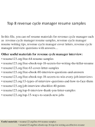 Revenue Manager Resume Examples
