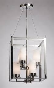 awesome rectangular lantern chandelier chandeliers modern chromed rectangle form light foyer lantern
