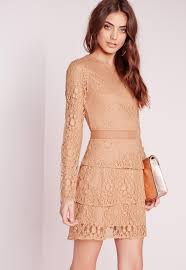Mesh Insert Lace Skater Dress Camel Missguided
