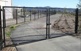 welded wire fence gate. Two Black PVC Coated Welded Wire Mesh Swing Gate With Solid Frame And Sturdy Post. Fence