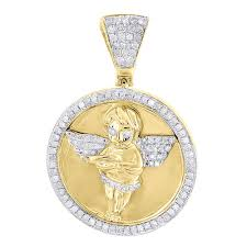 details about diamond angel medallion pendant mens 925 sterling silver round charm 1 2 tcw