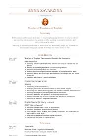 Teacher Of English, German And Russian For Foreigners Resume samples
