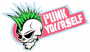 cartoon ic book punk rock style skull in green and pink colour