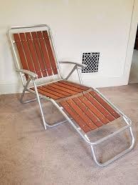 patio furniture chaise lounge. Vintage Redwood Slat Aluminum Lawn Chair Chaise Lounge Folding Patio Furniture