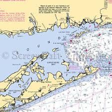 New York Long Island Sound Montauk Nautical Chart Decor