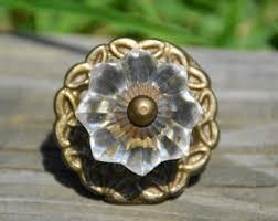 antique glass drawer pulls. vintage glass knob/antique knob/clear melon brass knob/glass cabinet drawer pull antique pulls