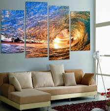 4 pieces canvas wall art sunset on the beach with screw ocean wave wall on 4 piece canvas wall art with 4 pieces canvas wall art sunset on the beach with screw ocean wave