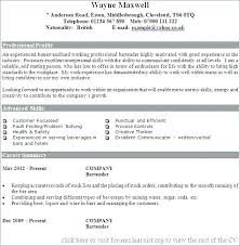Sample Bartender Resume Magnificent Resume For Bartender Examples Table Sample Example Objective